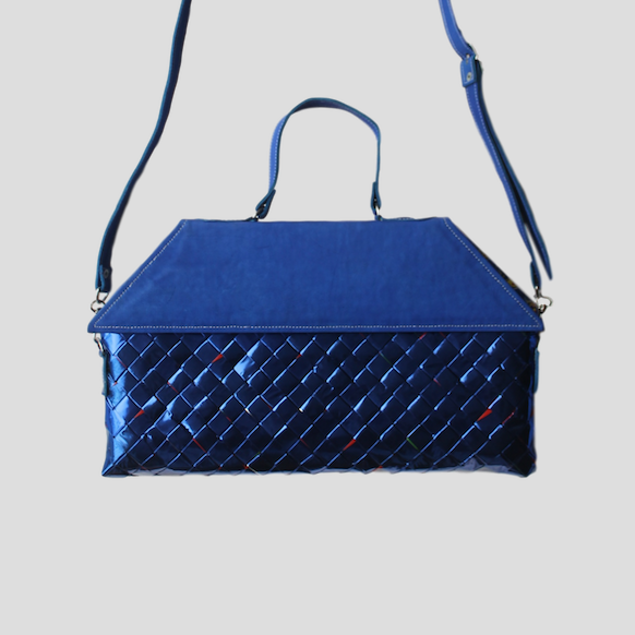 blue metal handbag